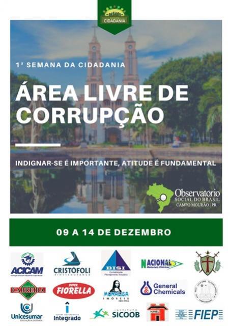 Área Livre de Corrupção será o tema da Semana da Cidadania em Campo Mourão