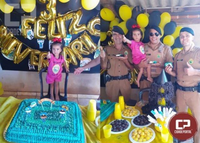 Equipe da Polícia Militar de Jussara participa do aniversário da pequena Laura Valentyna