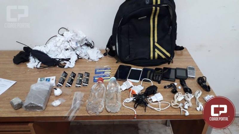 Adolescente foi apreendido com drogas e celulares que seriam arremessados na cadeia de Peabiru