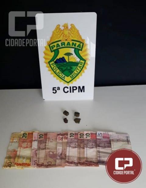 Equipe da Polícia Militar de Cianorte prende homem por tráfico de drogas