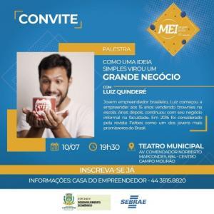 Empresário que começou vendendo bolo na escola faz palestra nesta quarta em C. Mourão