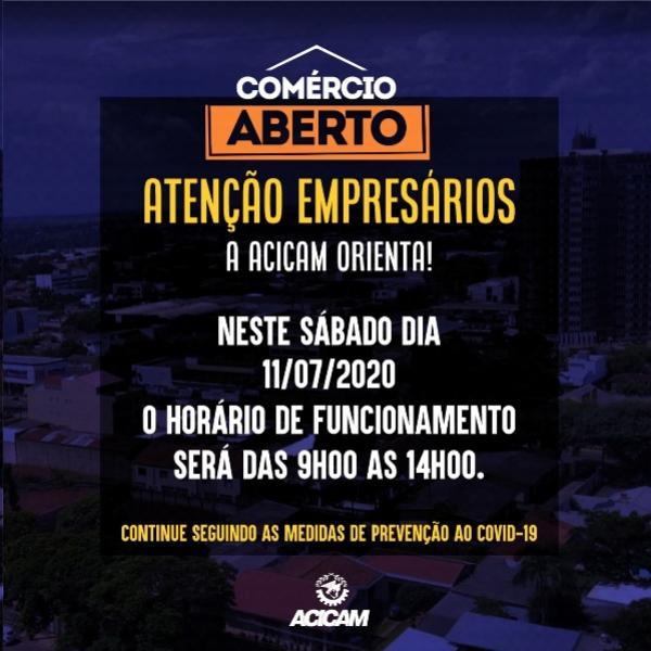 Lojas atendem até às 14 horas, neste sábado, em Campo Mourão