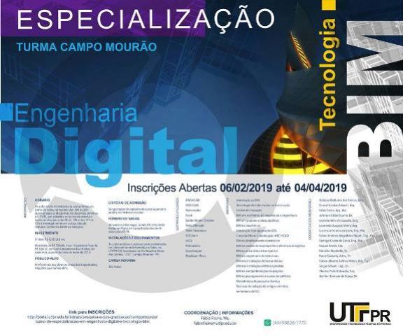 Inscrições prorrogadas para o curso de especialização em Tecnologia BIM na UTFPR-CM