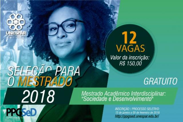 Unespar divulga prazos para seleção do mestrado Sociedade e Desenvolvimento em Campo Mourão