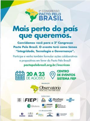 Inscrições estão abertas para o  2º Congresso Pacto pelo Brasil
