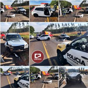 Duas pessoas ficam feridas em acidente entre dois veículos na Rodovia PR-323, em Perobal