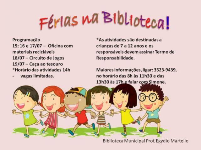 Férias com oficinas e brincadeiras na Biblioteca Municipal de Campo Mourão