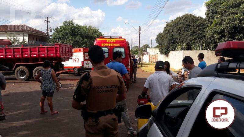 Acidente entre moto e caminhão quase termina em tragédia em Campo Mourão