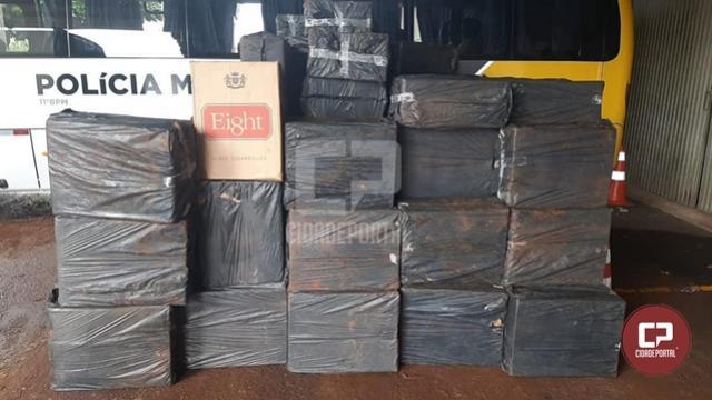 Policiais militares apreendem mais de 150 mil maços de cigarros contrabandeados em Campo Mourão