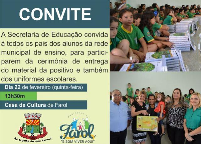 Prefeitura de Farol irá fazer a entrega de material positivo e uniformes escolares