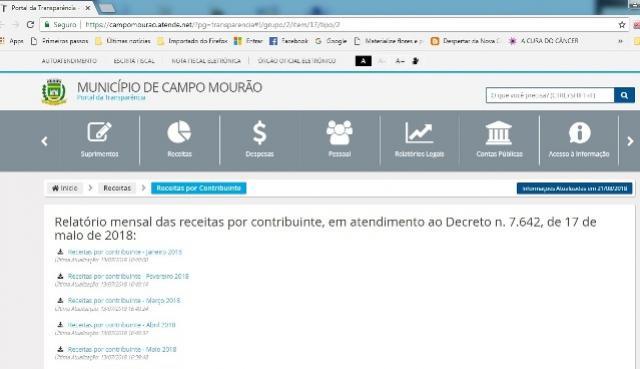Portal da transparência de Campo Mourão, divulga relação nominal de contribuintes e valores pagos em impostos