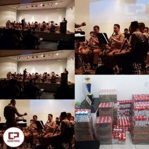 Apresentação da Banda da PMPR em Campo Mourão arrecadada mais de 800 caixas de leite