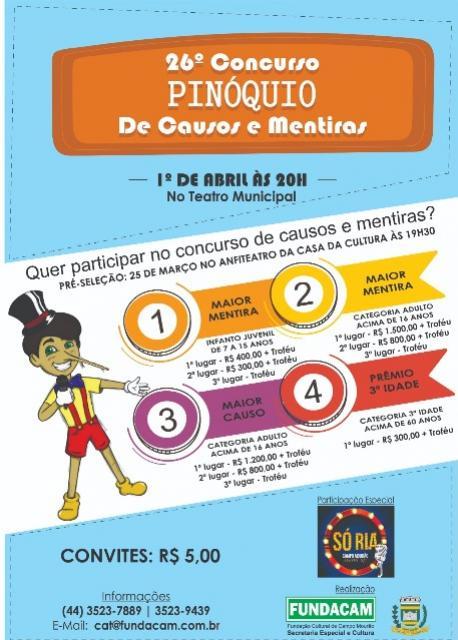 Seletiva do concurso Pinóquio e  inscrições até segunda-feira, dia 25 em Campo Mourão