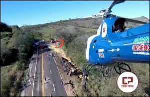 Grave acidente na BR-487 movimentou as equipes de Resgate inclusive o helicóptero saúde 03 do SAMU