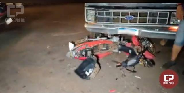 Corpo de Bombeiros foi acionado para atender acidente entre carro e moto na cidade de Campo Mourão