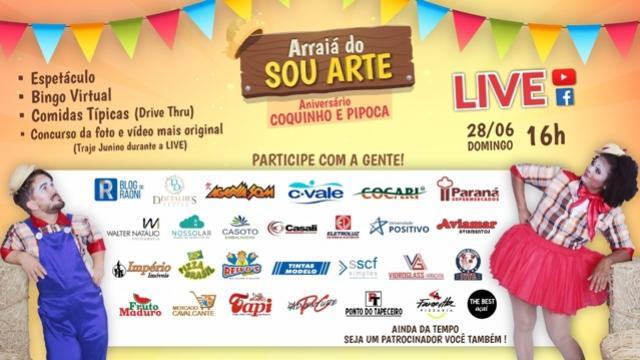 """""""Arraiá do Sou Arte"""" de Campo Mourão acontece neste domingo, 28"""