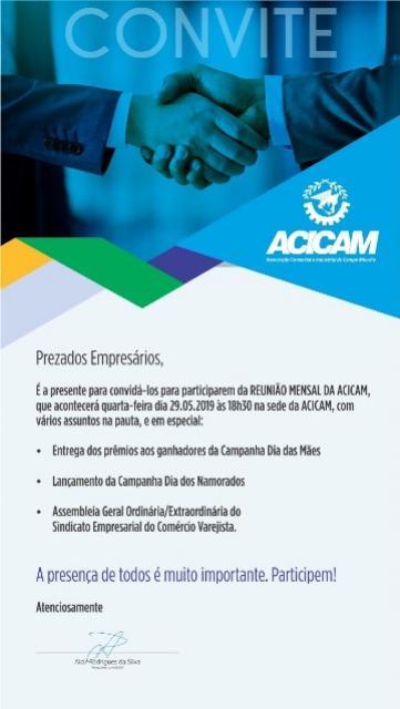 Reunião da Acicam e assembleia do Sindicam nesta quarta-feira, 29