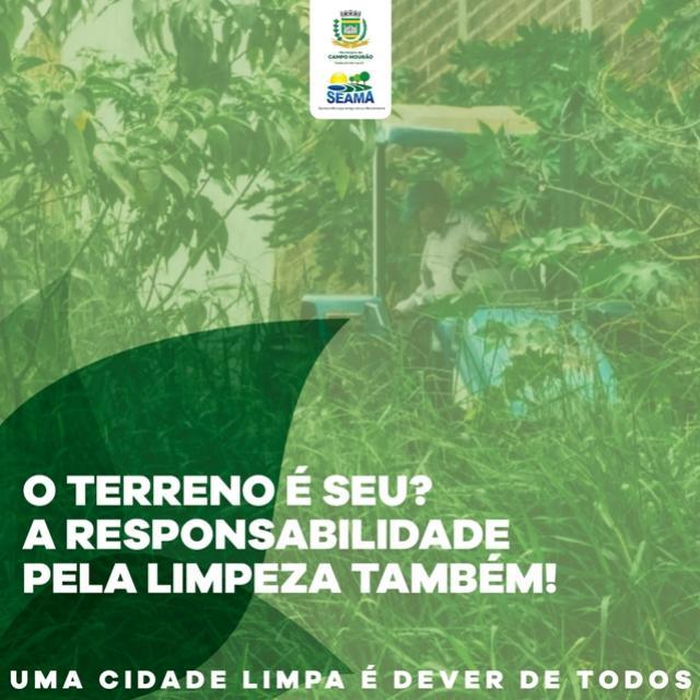 Município de Campo Mourão fiscaliza terrenos baldios sujos ou mal conservados