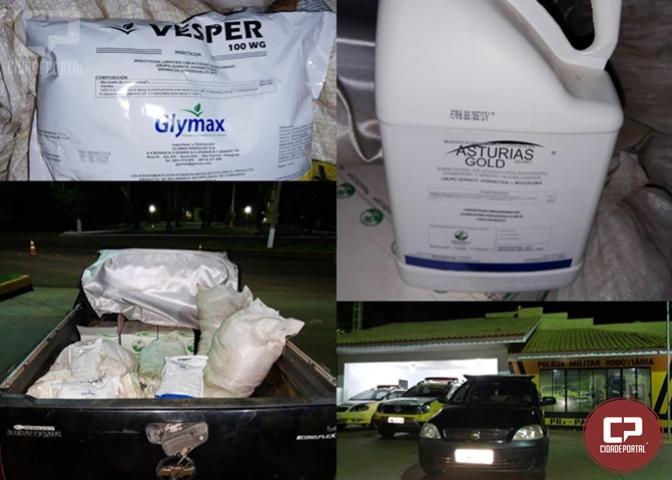 PRE de Palotina apreende veículo carregado com agrotóxicos contrabandeados