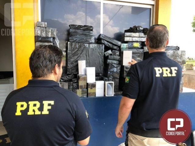 PRF aborda ônibus com mais de R$ 1 milhão em celulares de última geração