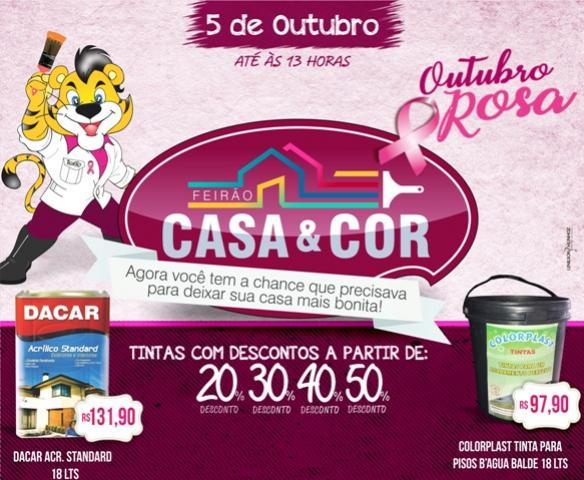 Feirão Outubro Rosa - Casa & Cor da Tigrão Tintas com descontos de até 50% aproveite