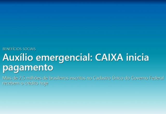Mais de 2,5 milhões de brasileiros inscritos no Cadastro Único do Governo Federal recebem o crédito hoje