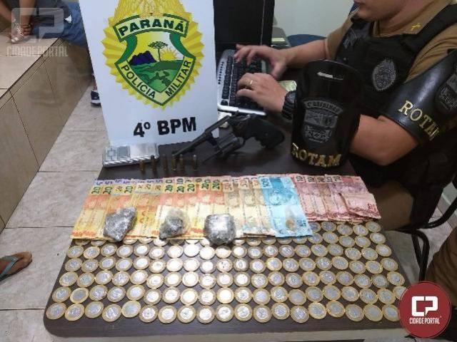 Polícia Militar prende homem com arma e droga em Maringá