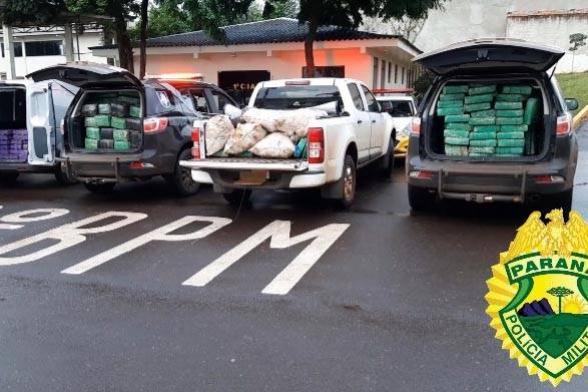 Mais de uma tonelada de maconha é apreendida pela PM em Santa Helena