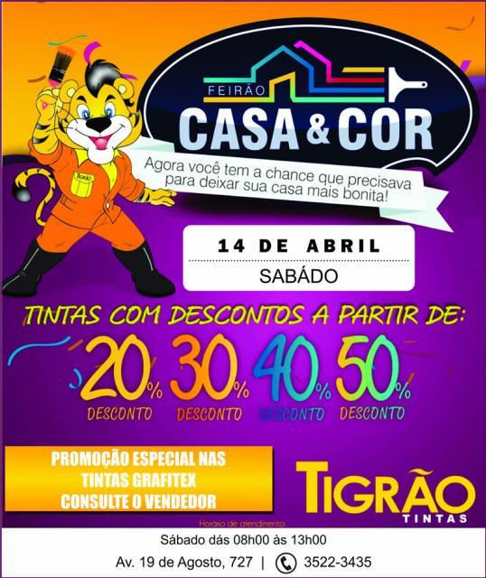 Feirão Casa & Cor Tigrão Tintas - com descontos que vão de 20% a 50%, neste sábado, 14