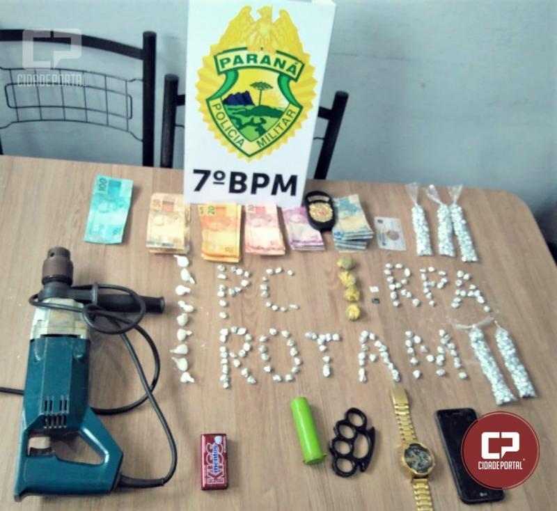 Ação conjunta entre Policiais do 7º BPM e Polícia Civil apreendem 383 pedras de Crack em Rondon