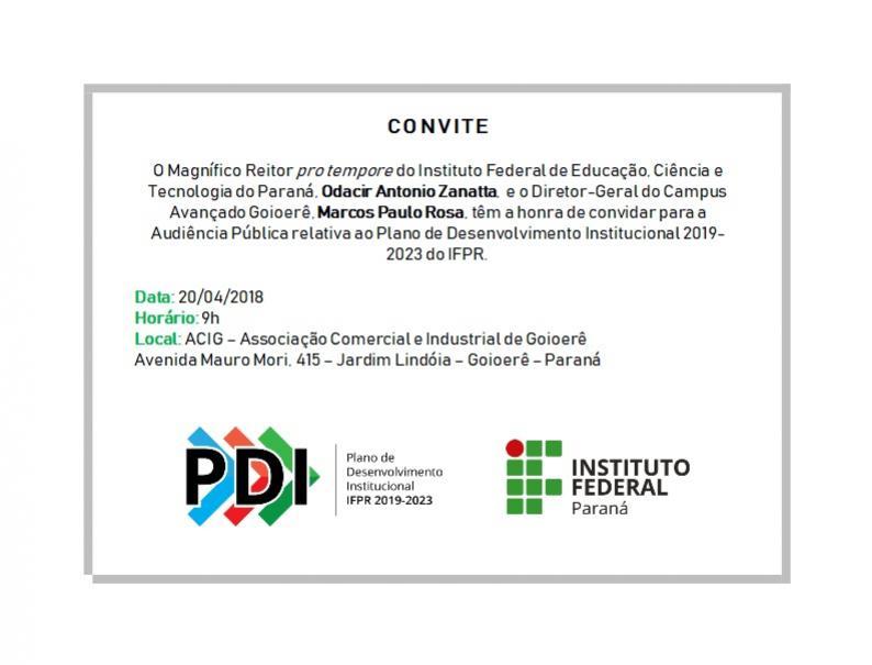AUDIÊNCIA PÚBLICA DO IFPR DISCUTE A EXPANSÃO DO CAMPUS ATÉ 2023