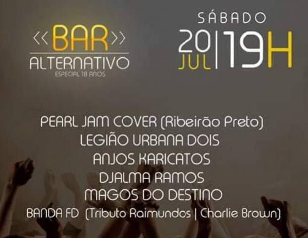 Bar Alternativo Especial 18 anos, será realizado neste sábado, 20, na Associação Banestado