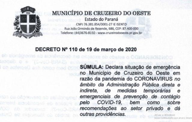 Prefeitura de Cruzeiro decreta fechamento do comércio e paralisação de todas atividades que geram aglomeração