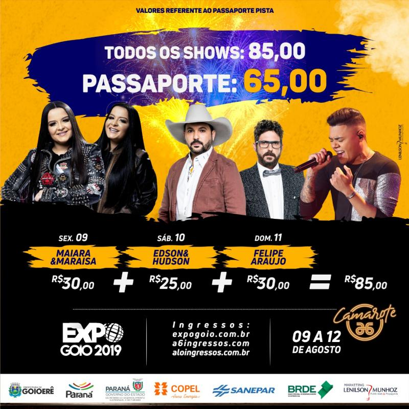 Confira os descontos dos ingressos e passaportes para o Shows da Expo-Goio 2019