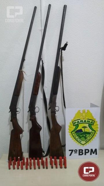 Policiais Militares do 7º BPM apreendem três armas de fogo em Tuneiras do Oeste