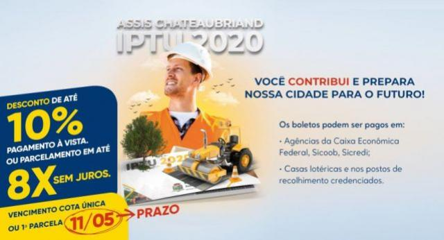IPTU com desconto de 10% deve ser pago até segunda-feira, 11, em Assis Chateaubriand