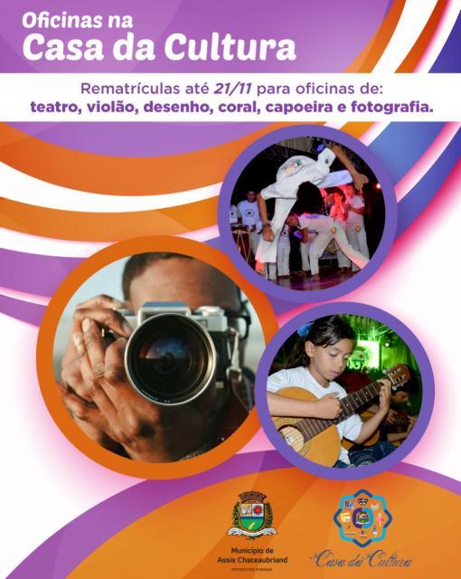Rematrículas para oficinas da Casa da Cultura vão até 21 de novembro