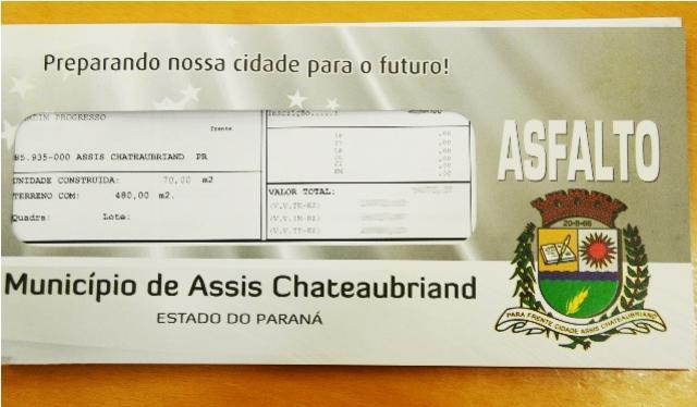 Asfalto: moradores de Assis Chateaubriand que optaram por pagamento parcelado devem procurar a prefeitura