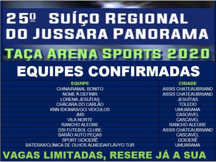 Edição 2020 do Suíço Regional do Jussara/Panorama já tem 12 equipes confirmadas