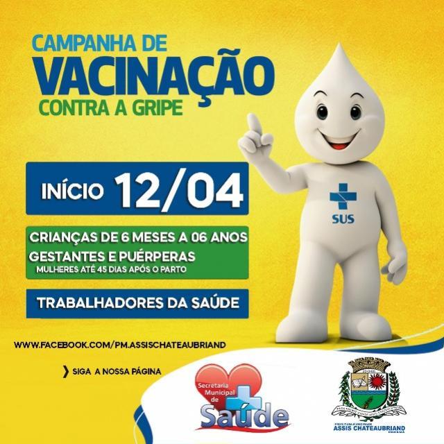 Vacina contra gripe será aplicada em Assis Chateaubriand a partir de segunda-feira, 12