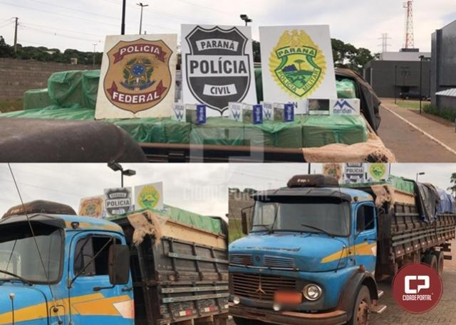 PF, BPFron/PMPR e GOA/PCPR apreendem caminhão carregado com cigarros contrabandeados em Terra Roxa