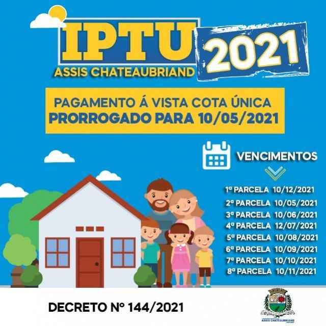 Assis Chateaubriand prorroga prazos para pagamento do IPTU/2021