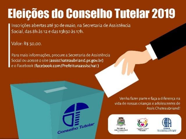 Inscrições para eleição do Conselho Tutelar de Assis Chateaubriand estão abertas