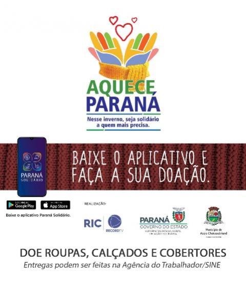 Solidariedade: Assis Chateaubriand participa da Campanha Aquece Paraná
