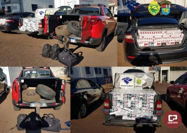 BPFRON e Receita Federal apreendem veículos carregados com cigarros contrabandos em Assis Chateaubriand