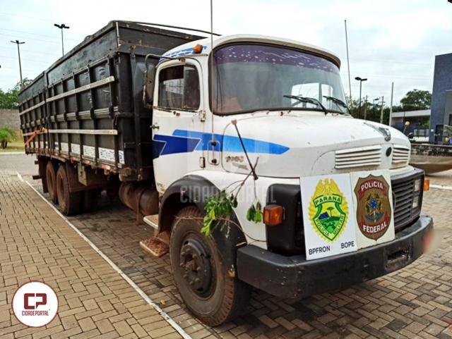 Polícia Federal e BPFron aprendem caminhões carregados com contrabando em Terra Roxa
