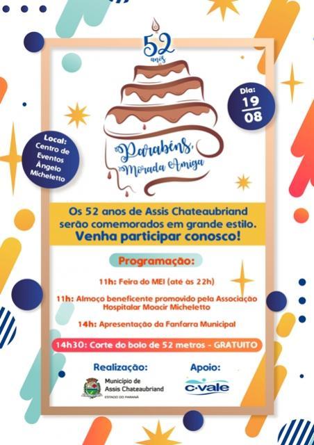 Aniversário do município de Assis Chateaubriand terá bolo gigante, almoço beneficente e Feira do MEI