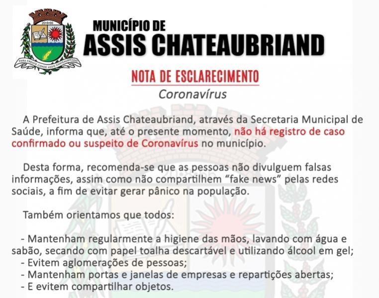Prefeitura de Assis toma medidas preventivas ao Coronavírus