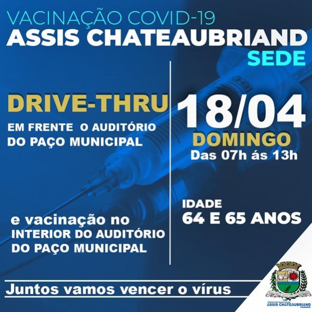 Idosos com 64 e 65 anos serão vacinados em Assis Chateaubriand no domingo, 18