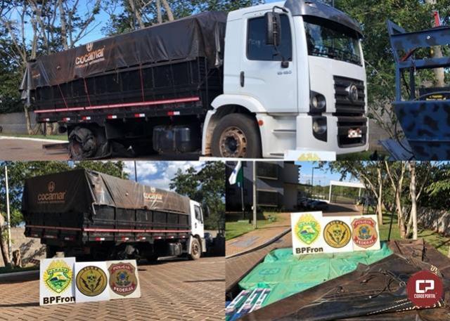 BPFron prende uma pessoa e apreende caminhão carregado com 600 caixas de cigarros contrabandeados em Terra Roxa